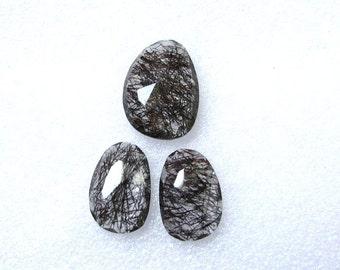 3 pieces pair BLACK Rutilated Rosecut Uneven Cabochon rosecut 22x16mm - 1 pcs Or 18.5x12.5mm -2 pcs Black Rutile Faceted Irregular Rosecut