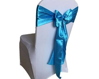 """7""""X108"""" Turquoise Satin Sashes Chair Cover Bow Sash WIDER FULLER BOWS Wedding Party"""