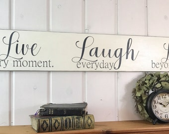 "Live laugh love sign | rustic wood sign | bedroom wall decor | inspirational home decor | living wall decor | love sign | 48"" x 7.25"""