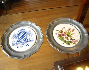"""Two Vintage Guy D'Arley Pewter and Porcelain Ceramic Plates – Floral Pattern and Royal Seal – 6"""" diameter"""