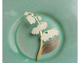 "Brass brooch ""Lily of the valley"""