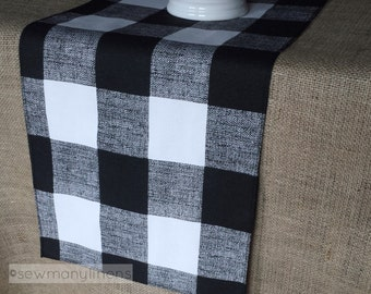 Black Plaid Buffalo Check Table Runner Centerpiece Gingham Dining Room Home Decor Country Kitchen