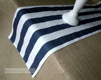 Navy Blue Stripe Table Runner Table Centerpiece Nautical Coastal Table  Decor Kitchen Dining Room Decor Linens