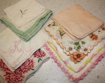 Vintage Ladies Hankies or Linens
