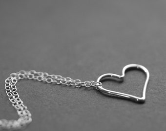 sterling silver heart necklace, heart necklace, heart jewelry, simple heart necklace, plain heart necklace, sterling pendant necklace