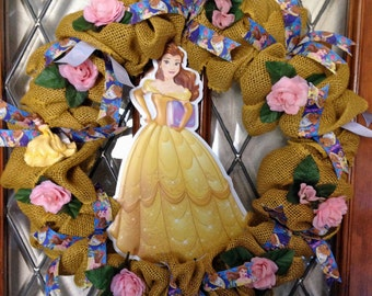 Disney Beauty and the Beast Belle Yellow Burlap Wreath