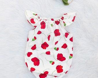 Poppy Flower Baby Girl Romper   Flutter sleeve   Newborn - 3T