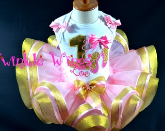 Ballerina Ballet 1st 2nd 3rd 4th 5th Birthday Party Outfit Dress Personalized Outfit Ribbon Tutu and Hair Bow Size 12M 24M 2T 3T 4T 5T 6T
