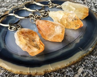Citrine Keychain, Citrine Point, Raw Citrine, Raw Crystal Keychain, Manifestation Keychain, Success Keychain, Lucky Keychain
