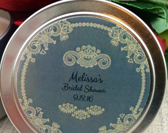 Bridal Shower Favors-Set Of 12-4 oz Tin Candle- Vintage Wedding-Bridal Favors-Soy Candles-Boho Chic