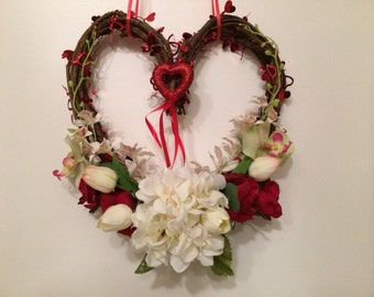 Valentine Grapevine Wreath, Heart Front Door Wreath, Heart Shaped Grapevine Wreath, Valentine Heart Wreath, Front Door Valentine Wreath