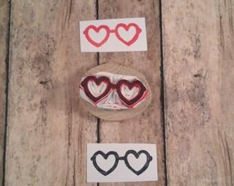 Heart Glasses Rubber Stamp, Hand Carved Stamp, Lolita Stamp, Sunglasses Stamp, Eyeglasses Fashion