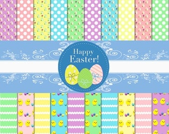 PRINTABLE Paper Pack, Printable Paper, Scrapbook Paper, Easter Scrapbook, Easter Paper Pack, Digital Paper, Pastel Paper, Instant Download