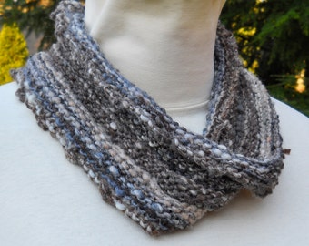 unisex hand knit grey and brown cozy mobius cowl