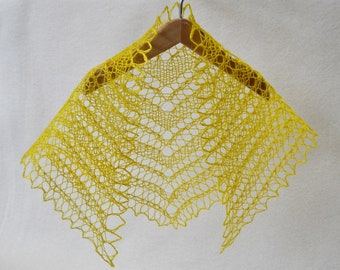 yellow hand dyed hand knit lacy shawl for 18 inch (A G) doll