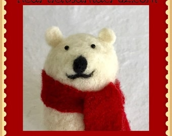 Needle Felted Polar Bear, Polar Bear Ornament, Felted Ornament, Christmas Decoration, Polar Bear Plushie