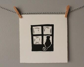 cat print, black cat, cat art, cat lover gift, cat decor, orignal art, black and white art, home decor, wall decor