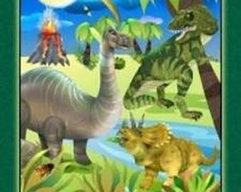 "26423 GREEN DINO Might Dinosaur Panel 24""x 44"" by SPX Prints, Cotton Quilting Fabric, T-Rex Dinosaur"