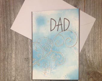 Fathers day cards, dad card, card for father, dad birthday card, blue and brown, handmade, greeting cards, blank cards, with envelopes