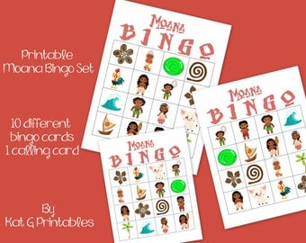 Moana Bingo Game, Printable Instant download, Moana Birthday Party