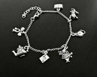 Alice in Wonderland bracelet | Alice charms bracelet | Silver