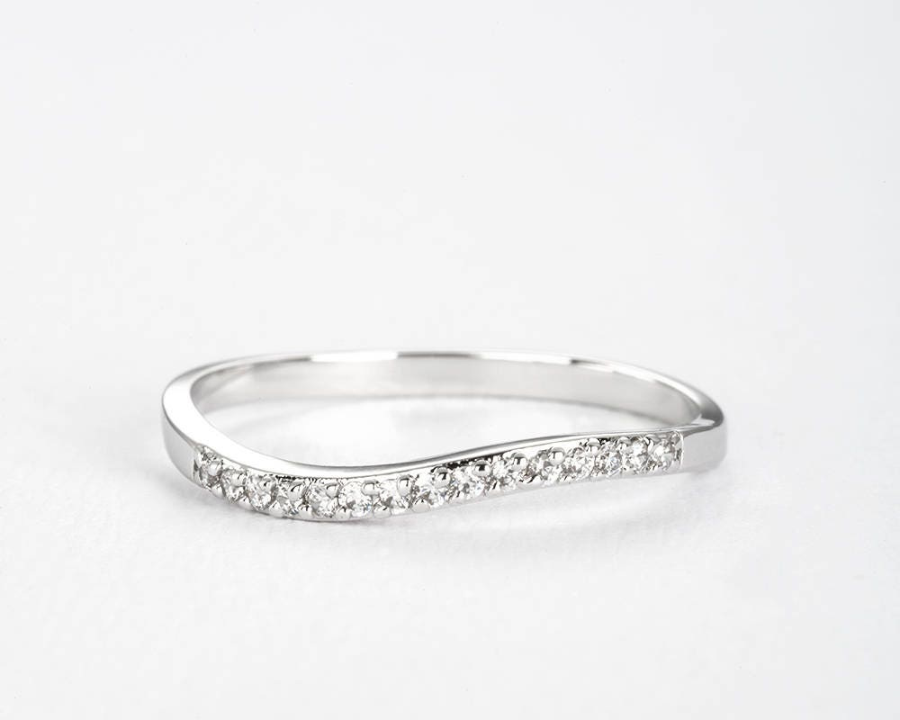 White Gold Eternity Wave Wedding Band Micro Pave Thin Diamond Ring Stacking