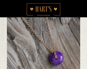 Sugulite 14K Gold Pendant Necklace