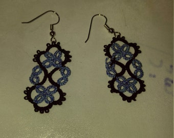 Beautiful hand tatted blue and black long earrings