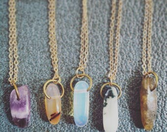 Labradorite, Moss, Agate, Amethyst, Rainbow, Moonstone, Delicate, Necklace, Gold, Wanderlust, Festival, Boho, Occult, Coven, Crystal, Magik