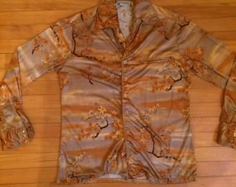Vintage 1970s Despino Retro Disco Funky Dance Collared Autumn Satin Long Sleeve Button Up Western Shirt