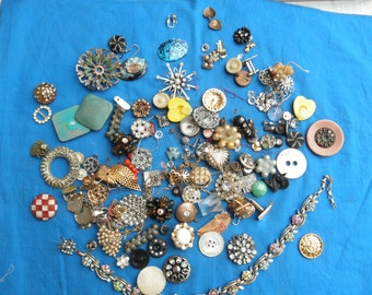 Vintage Jewelry Lot Parts or repair craft projects repurpose Rhinestones Clip On Earrings etc