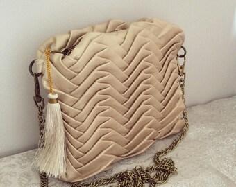NEW! Champagne lambskin leather handbag