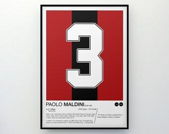 Paolo Maldini - #3 - AC Milan - Poster Print