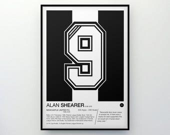 Alan Shearer - #9 - Newcastle United F.C. - Poster Print