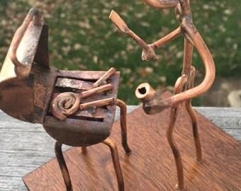 Copper Art Figurine of grill master / BBQ