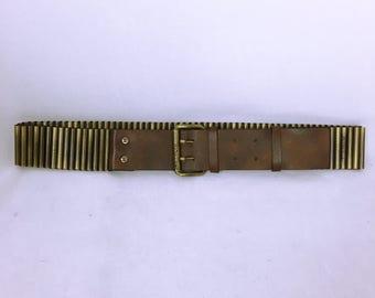 CELINE brown leather Antique gold belt