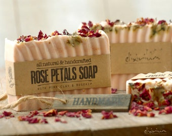 Rose Petals ORGANIC SOAP Pink Clay~Rosehip Soap Bar~Organic Soap~Vegan Soap~All Natural Soap~Handmade Soap~Rosehip soap~Rustic soap~soap