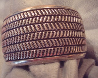 Cippy Crazyhorse sterling silver large cuff Navajo bracelet
