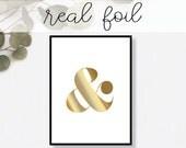 Ampersand Print // Real Gold Foil // Minimal // Gold Foil Art Print // Home Decor // Modern Office Print // Typography // Fashion Print
