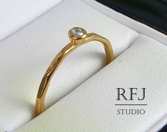 Rose Gold Faceted Lab Diamond Ring, 14K Gold Plated Cubic Zirconia RIng 2 mm CZ Ring White Diamond Stacking 14K Rose Gold  Stacking Ring