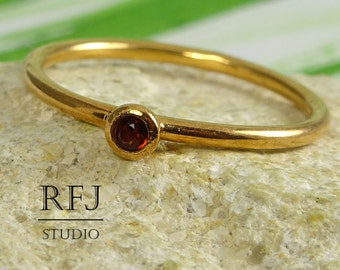 Rose Gold  Natural Garnet Ring, 2 mm Round Cut Red Genuine Garnet 14K Rose Gold Plated Ring January Birthstone Gold Garnet Stacking Ring