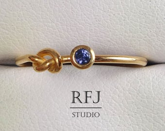 Natural Iolite 14K Rose Gold Plated Knot Ring, Genuine Iolite Tie The Knot Rose Gold  Ring, 2 mm Round Cut Blue Iolite Promise Gold Ring