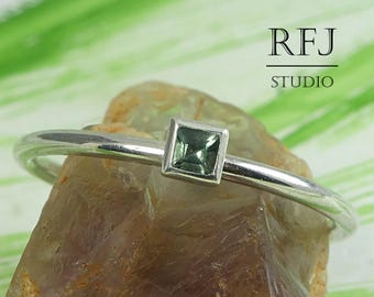 Square Synthetic Tourmaline Sterling Silver Ring, Princess Cut 2x2 mm Green Tourmaline Ring Square Setting Engagement Ring October Jewelry