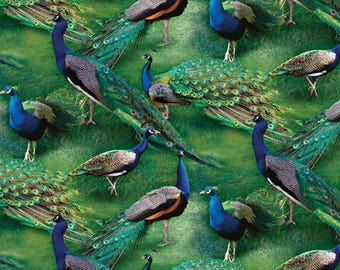 """Peacock Fabric: Wild Wings Pageant of Color Scene - Peacocks by Springs Creative 100% cotton fabric by the yard 36""""x43"""" (SC26)"""