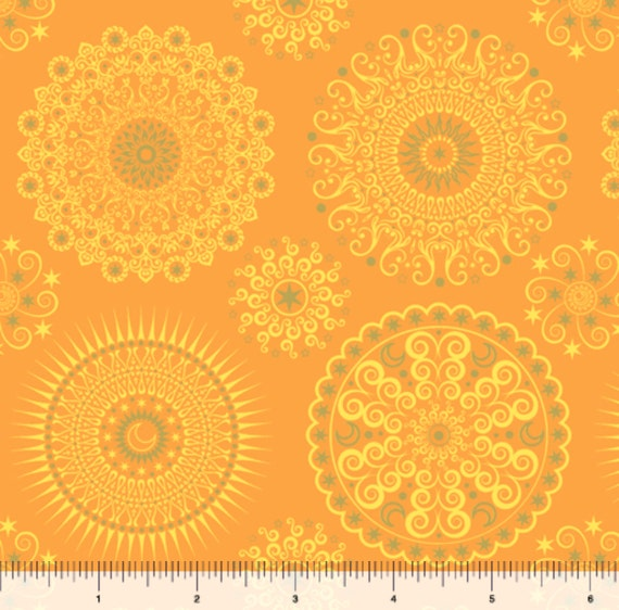 Geometric fabric celestial sol mandalas sunshine by for Celestial fabric by the yard
