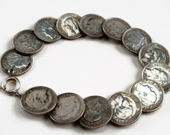 War period Dutch coin bracelet , silver, handmade, vintage bracelet, queen Wilhelmina, Dutch heritage, dubbeltje, historical, nostalgia