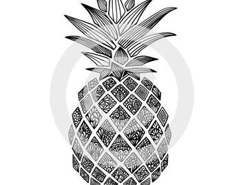 Pineapple Printable Colouring Page