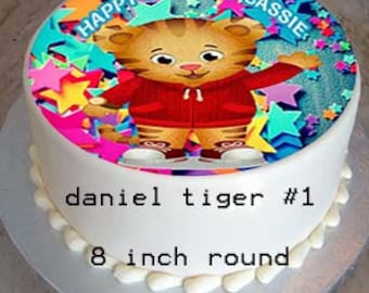 "Personalized 8"" Round Daniel Tiger Birthday Cake Topper"