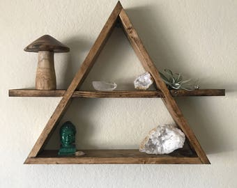 Triangle Wood Shelf, Geometric Wood Wall Shelf, Rustic Wall Decor, Rustic Wedding Decor, Crystal Display Shelf, Succulent Shelf, Boho Decor