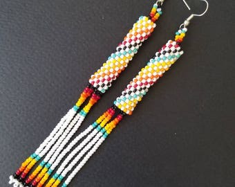 Seed bead earrings, huichol earrings, tribal earrings, duster earrings, rainbow earrings,